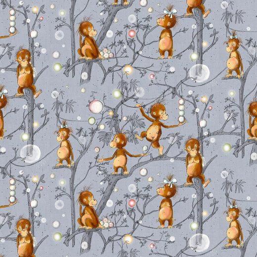 larissastoffe Stoff »Bio Jersey Stoff Affen Lillestoff Affenbande«, Stoffe Meterware, Stoffe zum Nähen, 50 cm x volle Breite