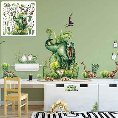 Sunnywall Wandtattoo »XXL Wandtattoo Kinder Dinosaurier realistisch Set verschiedene Motive Kinderzimmer Aufkleber Wanddeko Dinos T-Rex Brachiosaurus Saurus«