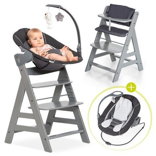 Hauck Hochstuhl »Alpha Plus Grau - Newborn Set« Holz Hochstuhl ab Geburt + Neugeboreneneinsatz & Wippe Deluxe + Sitzpolster
