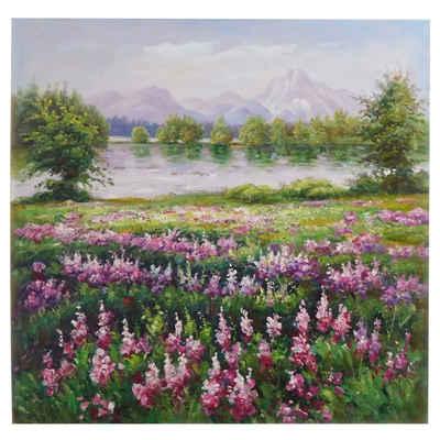MCW Ölgemälde »Blumenwiese«, Blumenwiese, Handgemalt, Hohe Qualität, Jedes Bild ein Unikat, Ölfarben