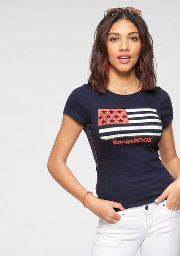 KangaROOS T-Shirt mit Flaggen-Front-Print