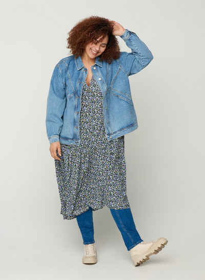 Zizzi Jeansjacke Große Größen Damen Hellblaue Baumwolljacke mit Knöpfen und Kragen