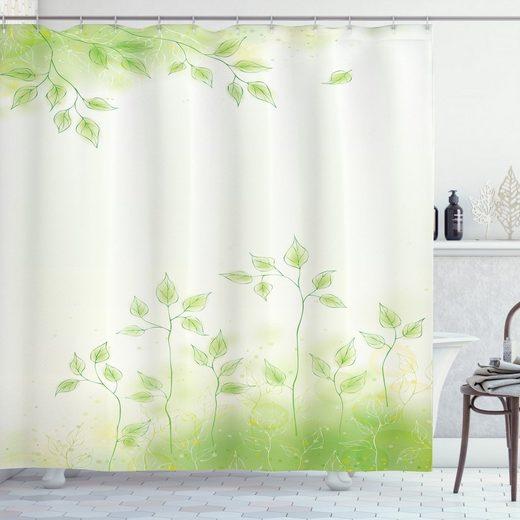 Abakuhaus Duschvorhang »Moderner Digitaldruck mit 12 Haken auf Stoff Wasser Resistent« Breite 175 cm, Höhe 180 cm, Grün Frische Blätter Botanic Eco