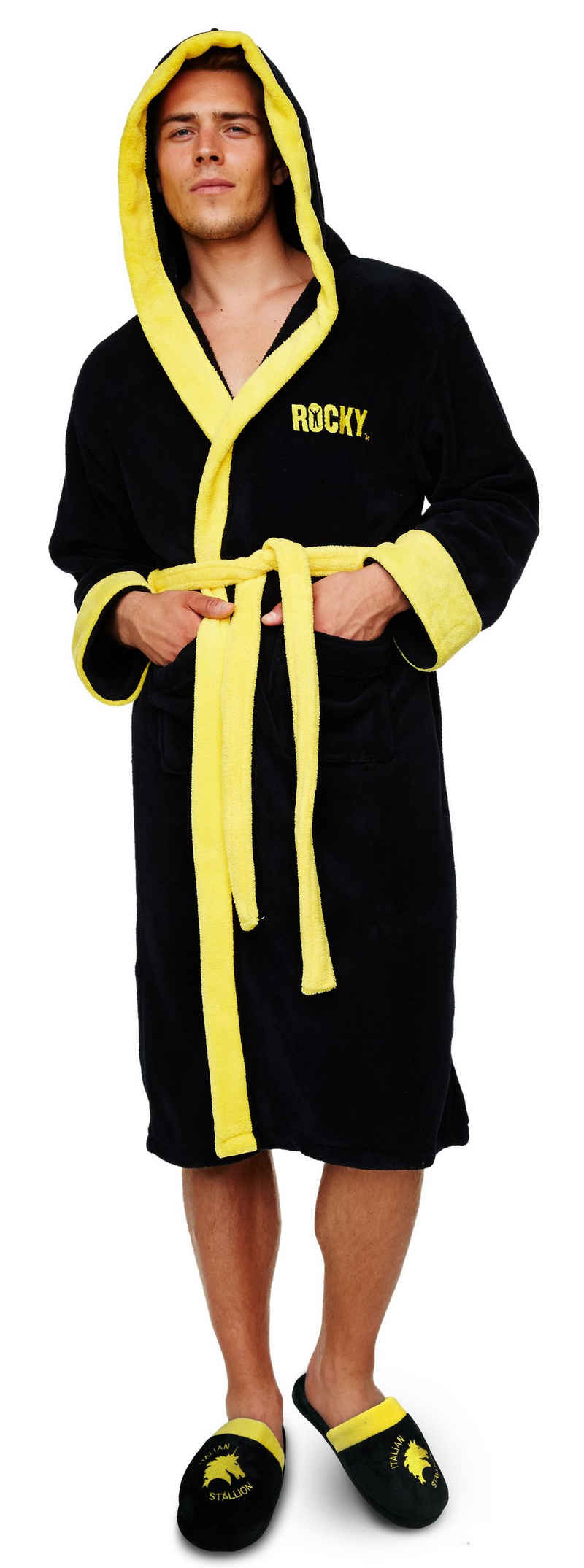 """Bademantel »ROCKY BALBOA """"The Italian Stallion"""" Unisex Bademantel mit aufgesetzten Taschen, Kapuze und Gürtel«, Groovy, one size fits most"""