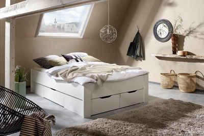 Schubladenbett Jugendbett Bett 140 cm mit 3 Schubkästen Kopfteil Stauraum