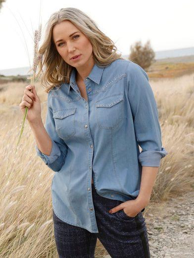 MIAMODA Jeansbluse mit kontrastfarbenen Nähten