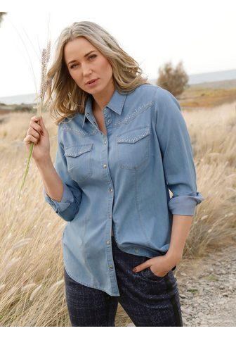 MIAMODA Jeansbluse su kontrastfarbenen Nähten