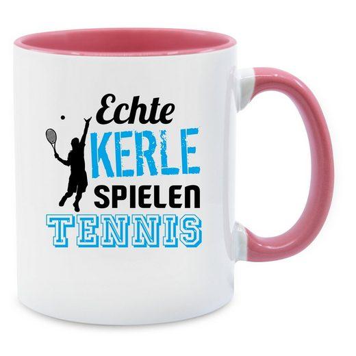 Shirtracer Tasse »Echte Kerle spielen Tennis schwarz - Tasse zweifarbig«