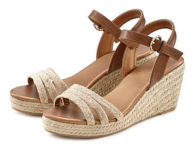 LASCANA Sandalette mit Keilabsatz in Bast-Optik
