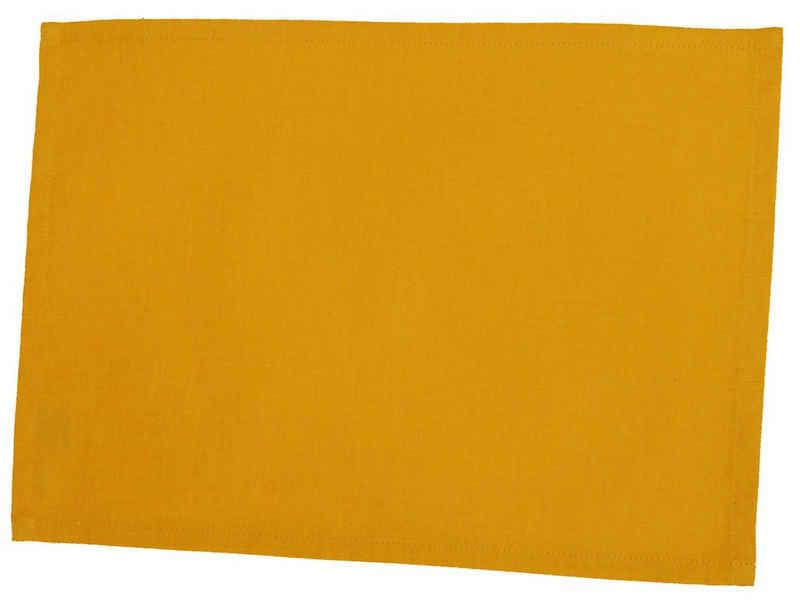 Platzset, »Farbenspiel«, beties, Tischset ca. 35x45 cm in interessanter Größen- und Farbauswahl 100% Baumwolle für eine fröhlich Stimmung Uni Farbe (Senf-Gelb)