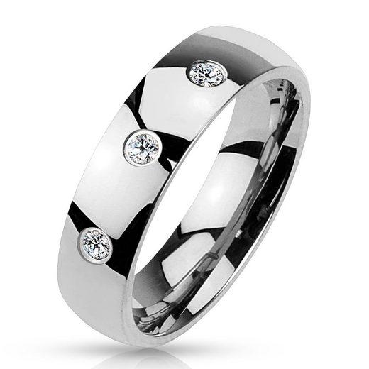 BUNGSA Fingerring »Ring drei gefasste Kristalle Silber aus Edelstahl« (inkl. Schmuckbeutel aus Organza), Damen Herren Verlobung Ehering Valentinstag