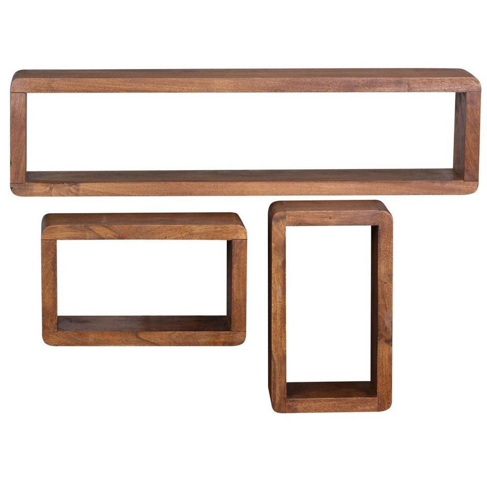 Finebuy Wandregal Suva2476 1 Design 3er Set Massiv Holzregale