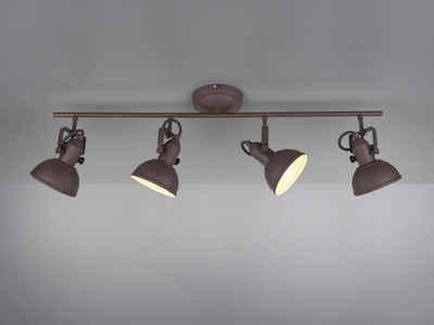 meineWunschleuchte LED Deckenstrahler, im Retro Industrie-Design, 4 flammig, Rost-Optik, Spots schwenkbar, LED dimmbar