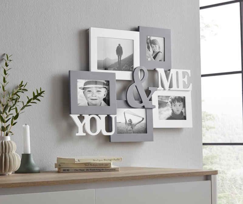 my home Bilderrahmen Collage »YOU & ME«, Fotorahmen, mit Schriftzug, weiß/grau