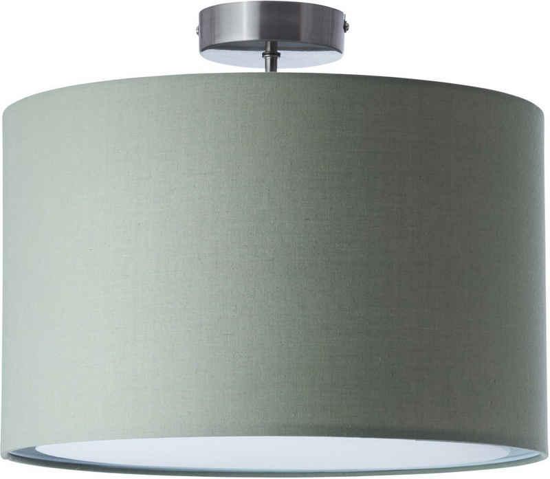 Lüttenhütt Deckenleuchte »Lüchte«, Deckenlampe mit Stoffschirm grau / grün, Ø 40 cm, Höhe 32 cm