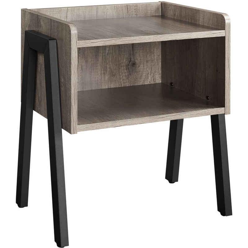Yaheetech Nachttisch, Nachttisch, stapelbarer Nachtschrank, Nachtkommode, Beistelltisch mit offenem Fach, stabile Metallbeine, Industrie-Design, Grau