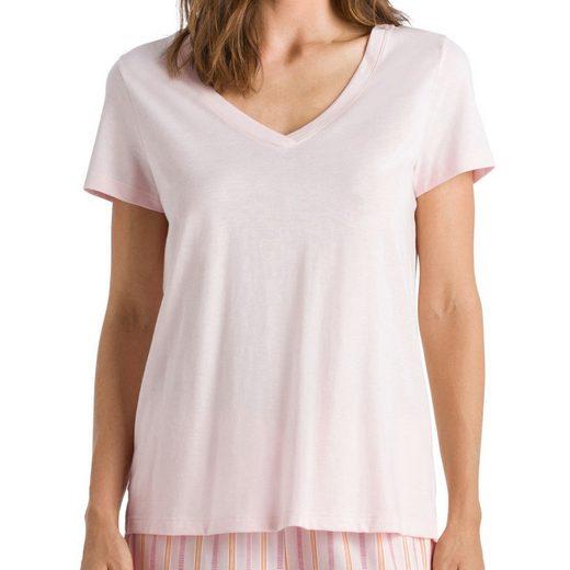 Hanro Pyjamaoberteil »Sleep & Lounge Schlafanzug Shirt kurzarm« Locker geschnitten, Angenehm auf der Haut, Zum selber kombinieren
