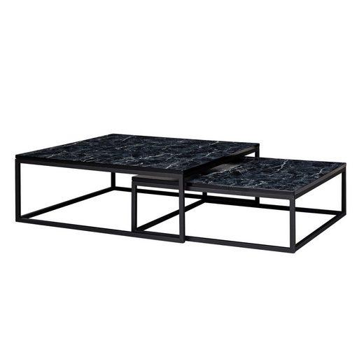 Wohnling Satztisch »WL6.235«, 2er Set Schwarz Marmor Optik Eckig Couchtische 2-teilig Tischgestell Metall Edle Wohnzimmertische Moderne Satztische