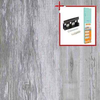 Bodenmeister Laminat »Dielenoptik Eiche grau vintage«, Set, bestehend aus 14,34qm Laminatboden, Trittschalldämmung und Sockelleisten, Leiste dekorgleich, Stärke: 7mm, ohne Fuge