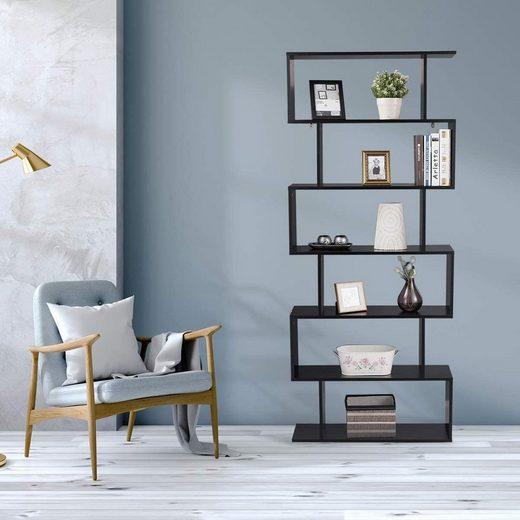 COSTWAY Bücherregal »Bücherregal«, Standregal mit 6 Ebenen, Aktenregal für Pflanzen & Bücher, Wandregal inkl. Befestigungsmaterial, Aufbewahrungsregal S-Form