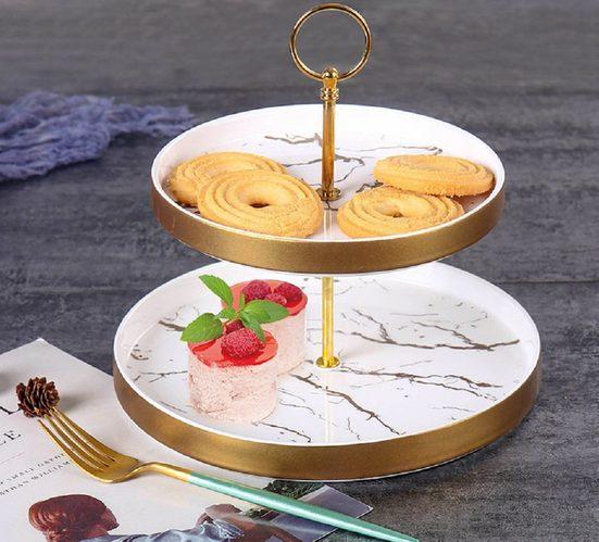 ZELLERFELD Etagere »Zellerfeld Trendmax Etagere 2-stufig Rund Marmor Design Porzellan für Dessert Muffin Cake Stand Servierstand Süßigkeiten Obst«