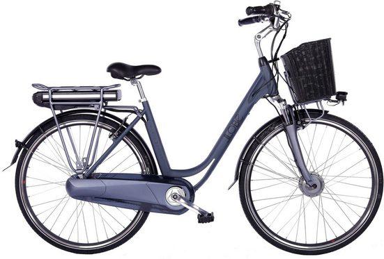 LLobe E-Bike »Black Motion 2.0, 10,4Ah«, 7 Gang Shimano, Nabenschaltung, Frontmotor 250 W, (mit Fahrradkorb)