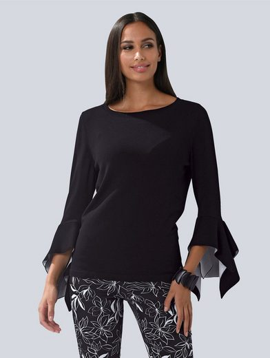 Alba Moda Strickpullover Pullover mit modischen Volant-Ärmeln
