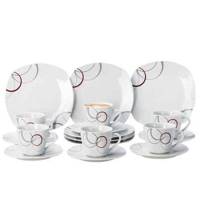 van Well Kaffeeservice »Kaffeeservice Palazzo 18tlg. - weiß mit Dekor-Kreisen in grau und dunkelrot - für 6 Personen«