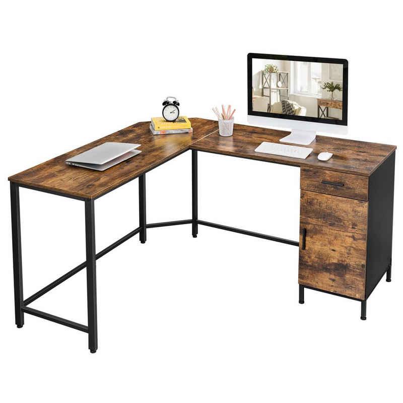 VASAGLE Computertisch »LWD74X«, Eckschreibtisch mit Schrank und Schublade, vintagebraun-schwarz