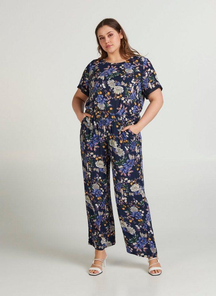 zizzi -  Stoffhose Damen Locker Fit Hose Blumenmuster Weite Stoffhose Große Größen