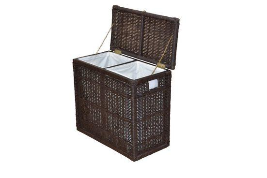 moebel-direkt-online Wäschekorb »DUO« (1 Stück), Handgeflochten, mit 2 Stoffeinsätzen