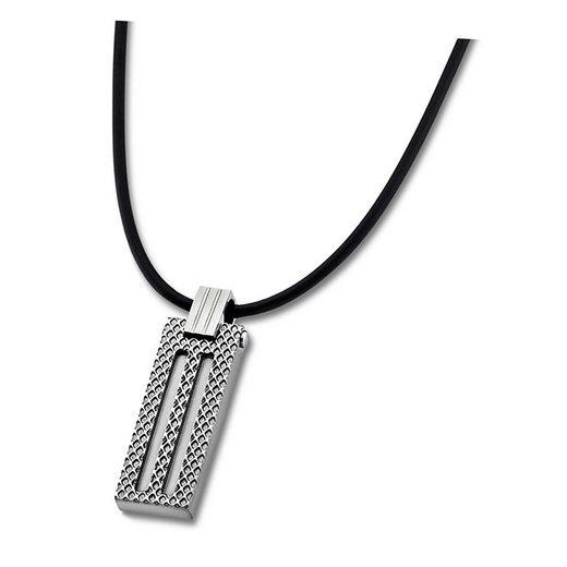Lotus Style Kette mit Anhänger »JLS1797-1-1 Lotus Style Halskette silber schwarz« (Halsketten), Halsketten für Herren Edelstahl (Stainless Steel)