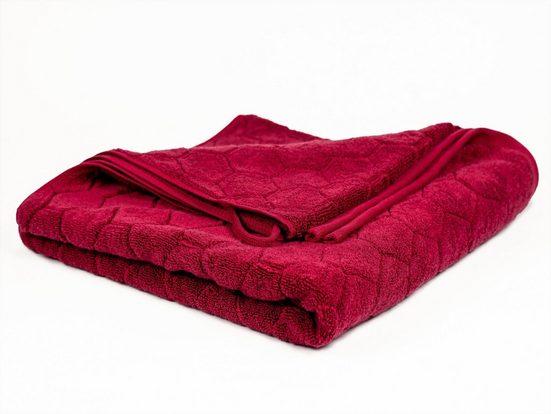 Aymando Badetuch »Hexagon« (1-St), Ökologische, hautfreundliche Handtücher aus reiner BIO Baumwolle, umweltfreundlich, Made in Egypt, 70x140, Bordeauxrot
