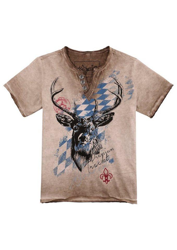 Herren,  Kinder Hangowear Trachtenshirt Kinder im Used Look braun | 04251363627540