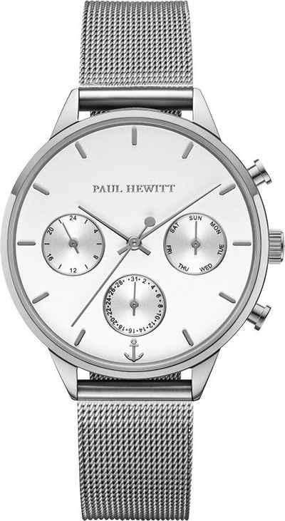PAUL HEWITT Multifunktionsuhr »Everpulse White Sand Silber Mesh, PH002814«