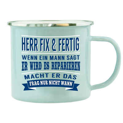 HTI-Living Becher »Echter Kerl Emaille Becher Herr Fix Fertig«, Emaille
