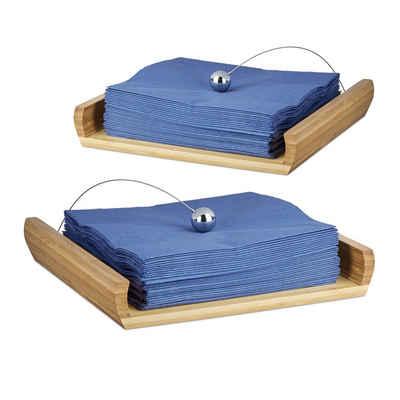 relaxdays Serviettenhalter »2 x Serviettenhalter Bambus«, Bambus