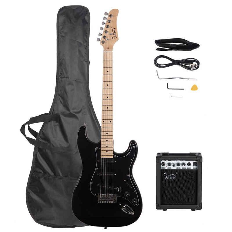 Glarry E-Gitarre »GST+«, E Gitarre Set Elektrogitarre E-Gitarre Schwarz mit Tasche VerstÄrker 20 Watt