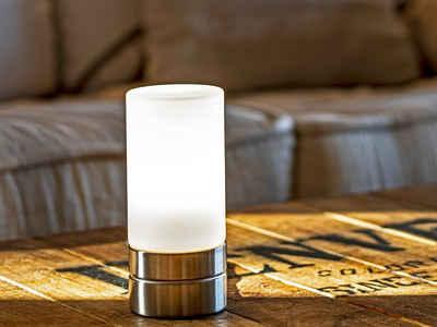 meineWunschleuchte Tischleuchte, Nachttisch-Lampe mit Glas-Lampenschirm und Touch Dimmbar für Wohnzimmer, Fensterbank, Schlafzimmer, Jugendzimmer