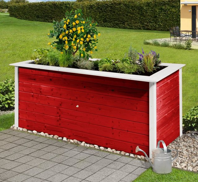 Weka Hochbeet, B/T/H: 205/80/81 cm, rot weiß