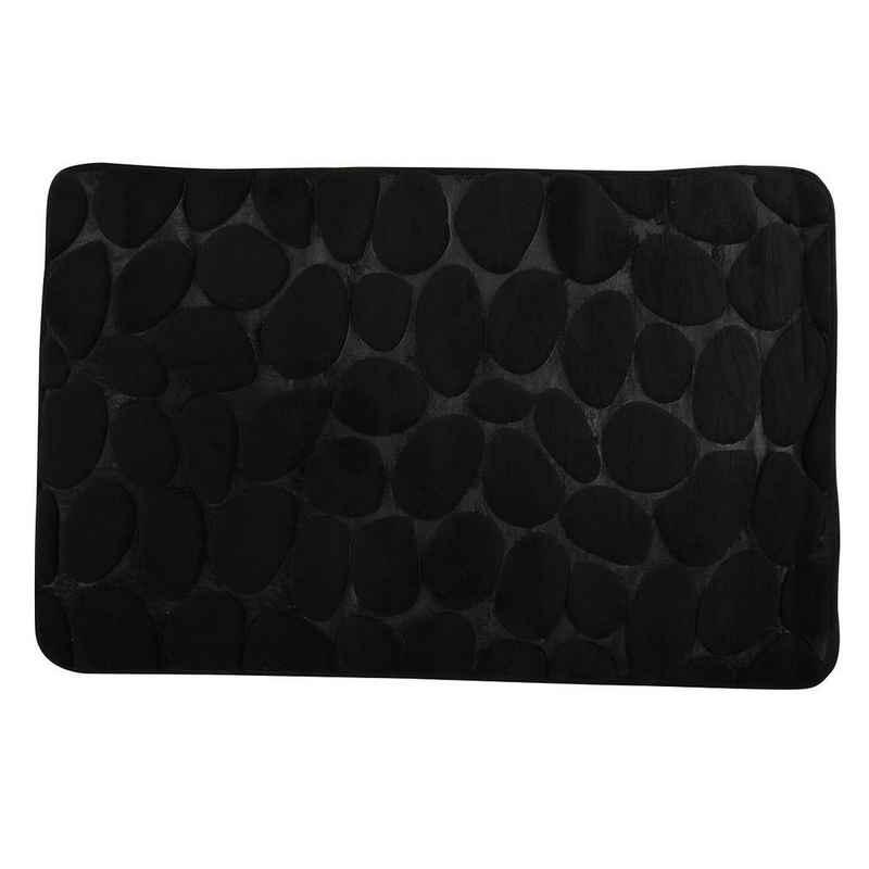 Badematte »KIESELSTEIN« MSV, rutschhemmende Beschichtung, für Fußbodenheizung geeignet, strapazierfähig, waschbar, schnelltrocknend, aus super-weicher Microfaser, in 2 Größen und vielen trendigen Farben erhältlich, 40 x 60 cm, schwarz