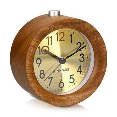 Navaris Reisewecker Analog Holz Wecker mit Snooze - Retro Uhr Rund mit Ziffernblatt in Gold Alarm Licht - Leise Tischuhr ohne Ticken - Naturholz