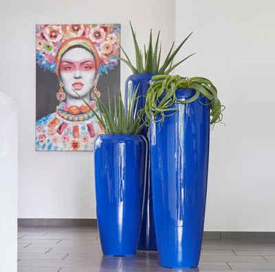 Flingora Bodenvase »Cleo«, mit Einsatz - Fiberglas Pflanzvase - Indoor & Outdoor - Hochglanz Kobaltblau - Höhe 75 cm / Ø 34 cm