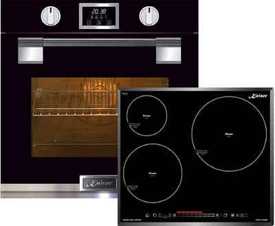 Kaiser Küchengeräte Backofen-Set EH 6338 S + KCT 6536 FI /3, Einbau Backofen, massives Metall, 79L,Glastür mit SOFTCLOSE, 11 Funktionen,Heißluftsystem, Infrarotgrill,Intelligent Sysytem+Induktionskochfeld 60cm Kochfeld 3 Kochzonen mit Power Indukiton Booster 5,0 kW