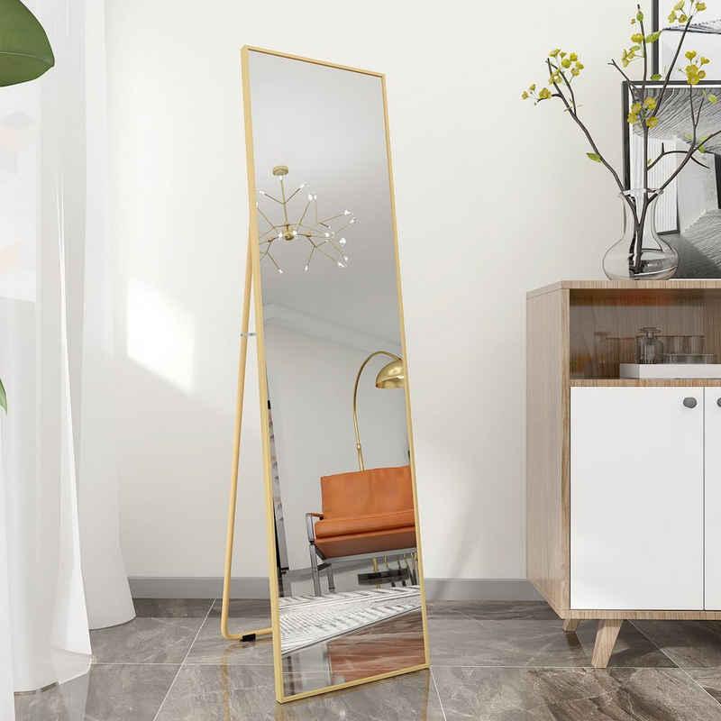 PHOEBE CAT Standspiegel, Ganzkörperspiegel mit Metallrahmen und Haken, als HD Wandspiegel oder Ankleidespiegel geeignet, kippbar, 140x40cm
