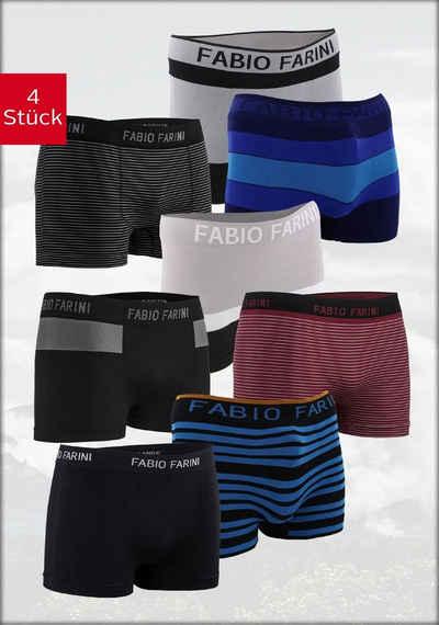 Fabio Farini Boxershorts (4 Stück) im sportlichen Look mit Logo-Bund, zufällig ausgewählte Farben