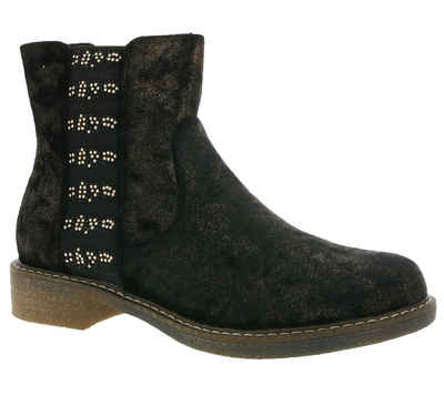 Arizona »ARIZONA Schuhe Stiefeletten angesagte Damen Boots im Samt-Look Stiefel Schwarz/Gold« Stiefelette