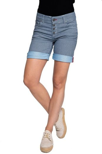 Coccara Stoffhose »CURLY BUTTON SHORTS NON-DENIM« Coccara Damen Shorts Non Denim 5 Pocket Vintage Slim fit Curly Button