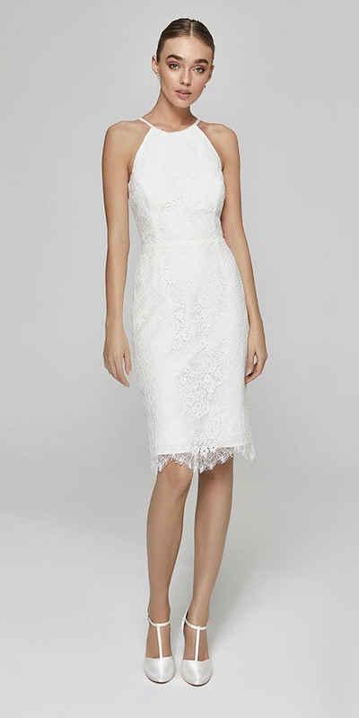 Bride Now! Midikleid »Kurzes Brautkleid aus Spitze mit hohem Kragen« comfortable to wear, with floral motifs