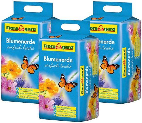 Floragard Blumenerde »einfach leicht«, mit Langzeitdünger, (3-St), 3x25 Liter
